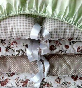 Простынки на резинке, постельное белье для малышей