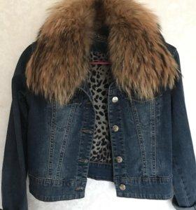Куртка с мехом лисы кожаная косуха