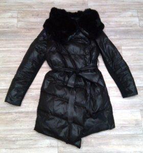 Куртка с мехом кролика-плащ в подарок