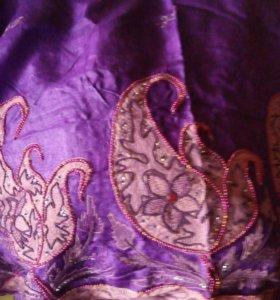Индийское сари,отрез ткани с вышивк (кто шьет-!!!)