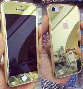 Золотое закаленное стекло iPhone 5/5s