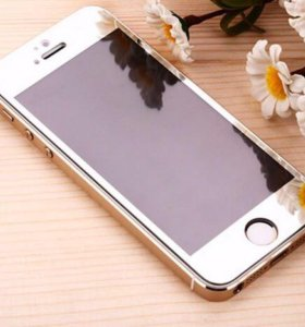 Серебряное закаленное стекло iPhone 5/5s
