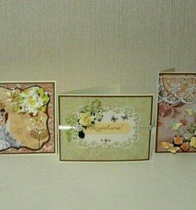 Свадебные открытки ручной работы, скрапбукинг