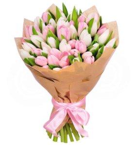 Букет из 15 нежно-розовых тюльпанов