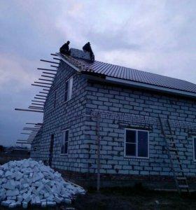 Монтаж крыши, заборов