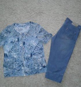 Бриджи джинсовые 52 размер .