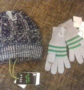 Новая шапка и перчатки на 1-2 г Sela