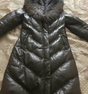 Зимний кожаный пуховик