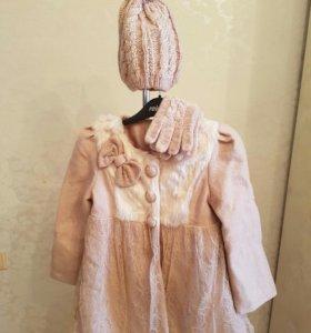 Демисезонное пальто,шапка,перчатки,ботинки