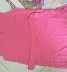Розовое лёгкое шифоновое платье