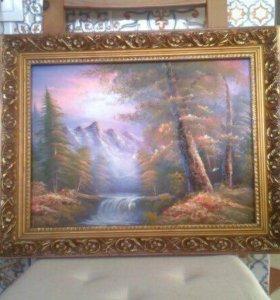 Картина холст Масло рамка Дерево Автор не известен