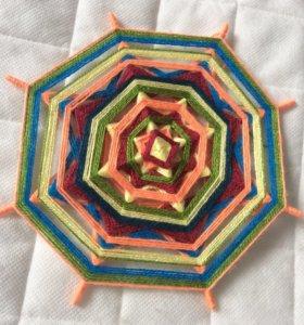 Мандала плетёная из ниток, D20 см