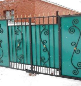 Ворота кованые со встроенной калиткой в-102.1