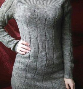 Свитер Вязаное платье Длинный свитер