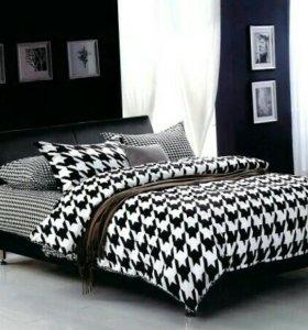 Постельное белье новое ч/б 2-спальное