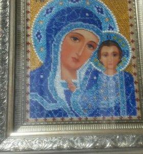 """Икона вышитая бисером """"Казанская Божья Матерь"""""""