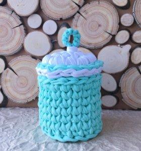 Интерьерная корзина из трикотажной пряжи handmade