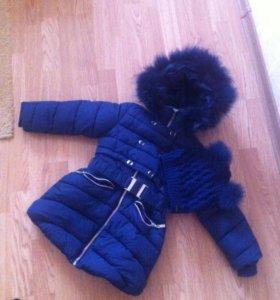 Пальто детское зима мех натуральный +шапочка