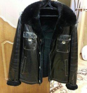 Натуральная кожаная куртка с норковым воротником