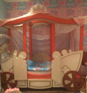 Кровать- карета для девочки 2-7 лет