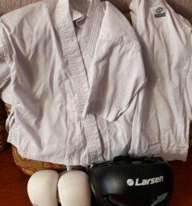 Кимано для единобор, защита голени, перчатки, шлем
