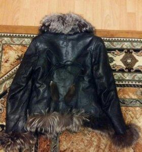 Куртка кожа с чернобуркой, кролик