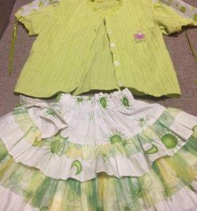Костюмчик(юбка и блузка) на 2-4года