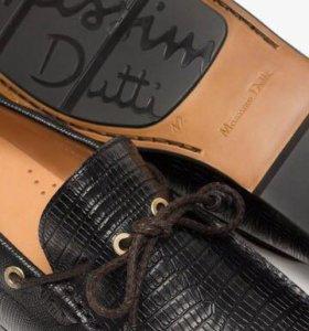 Massimo dutti black reptile-texture loafers