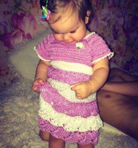 Платье на маленькую принцессу. Ручная работа.Новое