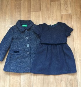 Пальто +платье от Benetton+ колготки гламурики