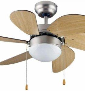 Потолочный вентилятор со светильником, новый.