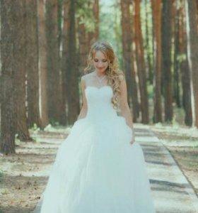 Свадебное платье+фата+кольца+перчатки+чехол