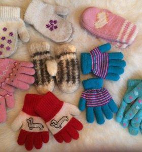 Перчатки, Варежки и шапка