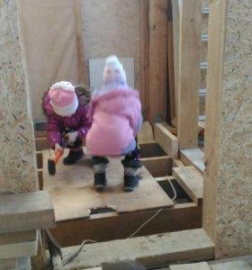 Строительство каркасного дома, винтовые сваи