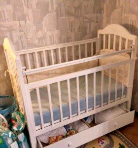 Деская кроватка Наша Мама + матрас