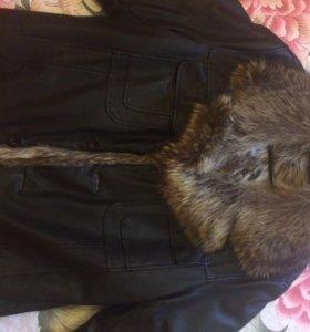 """Куртка кожаная мужская с натуральным мехом """"Енот"""""""