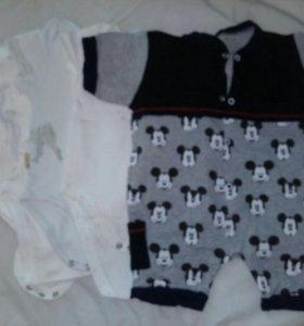 Боди пакетом для мальчика 2-6 месяцев