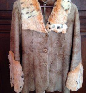 Куртка-дубленка облегчённая с мехом рыси