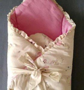 Конверт-одеяло для новорожденной на выписку