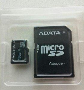 Карта памяти micro SD 16 ГБ с адаптером на SD