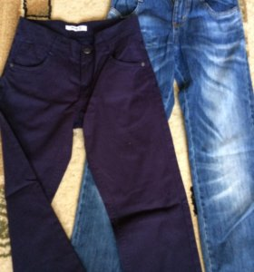 Новые джинсы и твиловые брюки ,146см