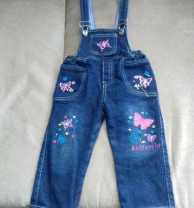 Утепл.джинсовый комбинезон 74-80р.