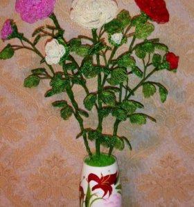 Композиция из бисера, букет роз