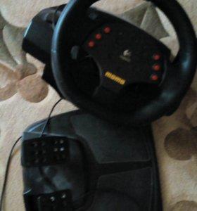 Руль с педалями к компьютеру для игр
