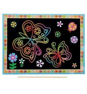 Гравюра с цветным основанием Бабочки + стек.