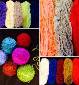пряжа разная для вязания (мотки)