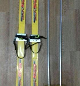 Лыжи 100см+палки лыжные