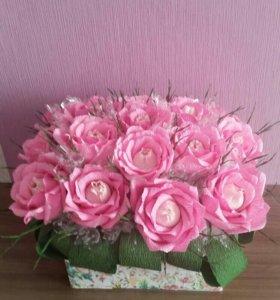 Конфетный букет роз