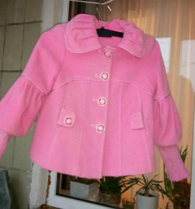 Детское розовое пальто