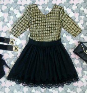 Платье золото с чёрным